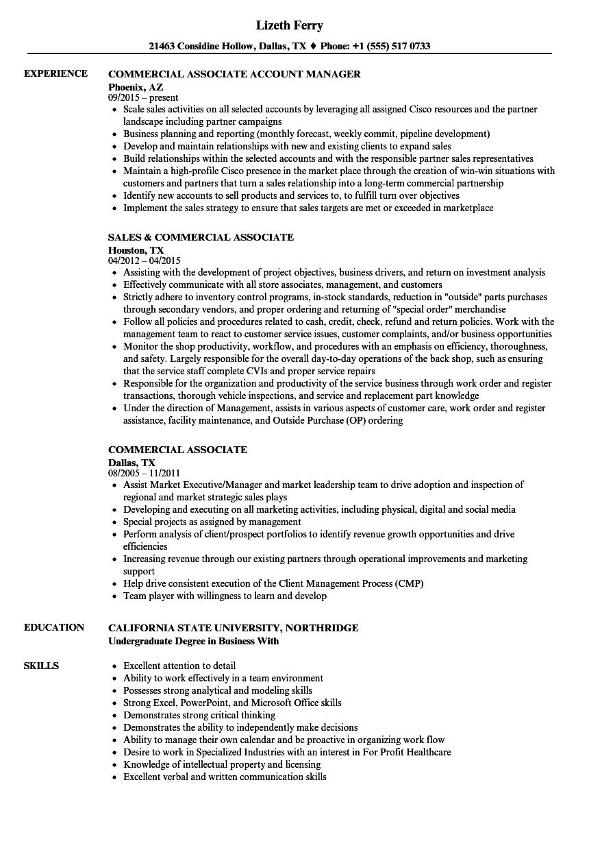 commercial associate resume samples
