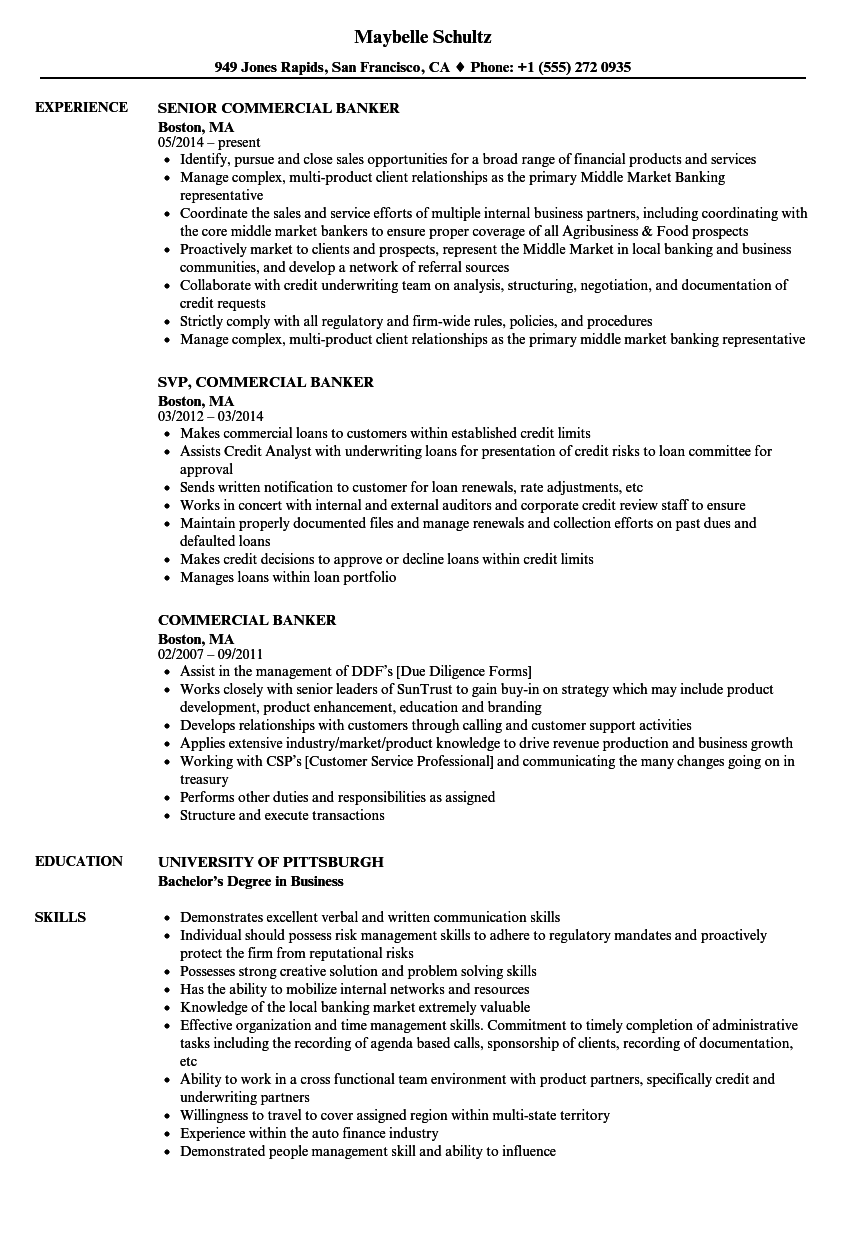 Commercial Banker Resume Samples Velvet Jobs