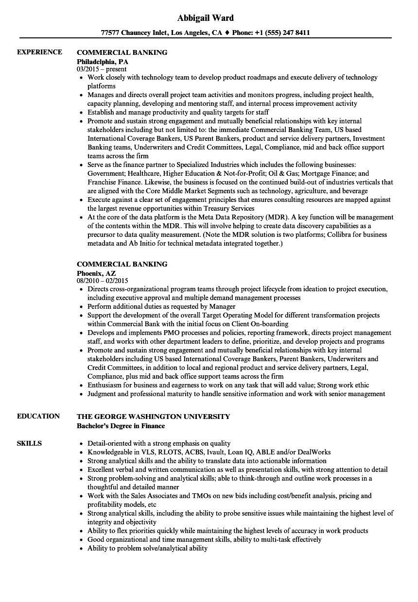 commercial banking resume samples