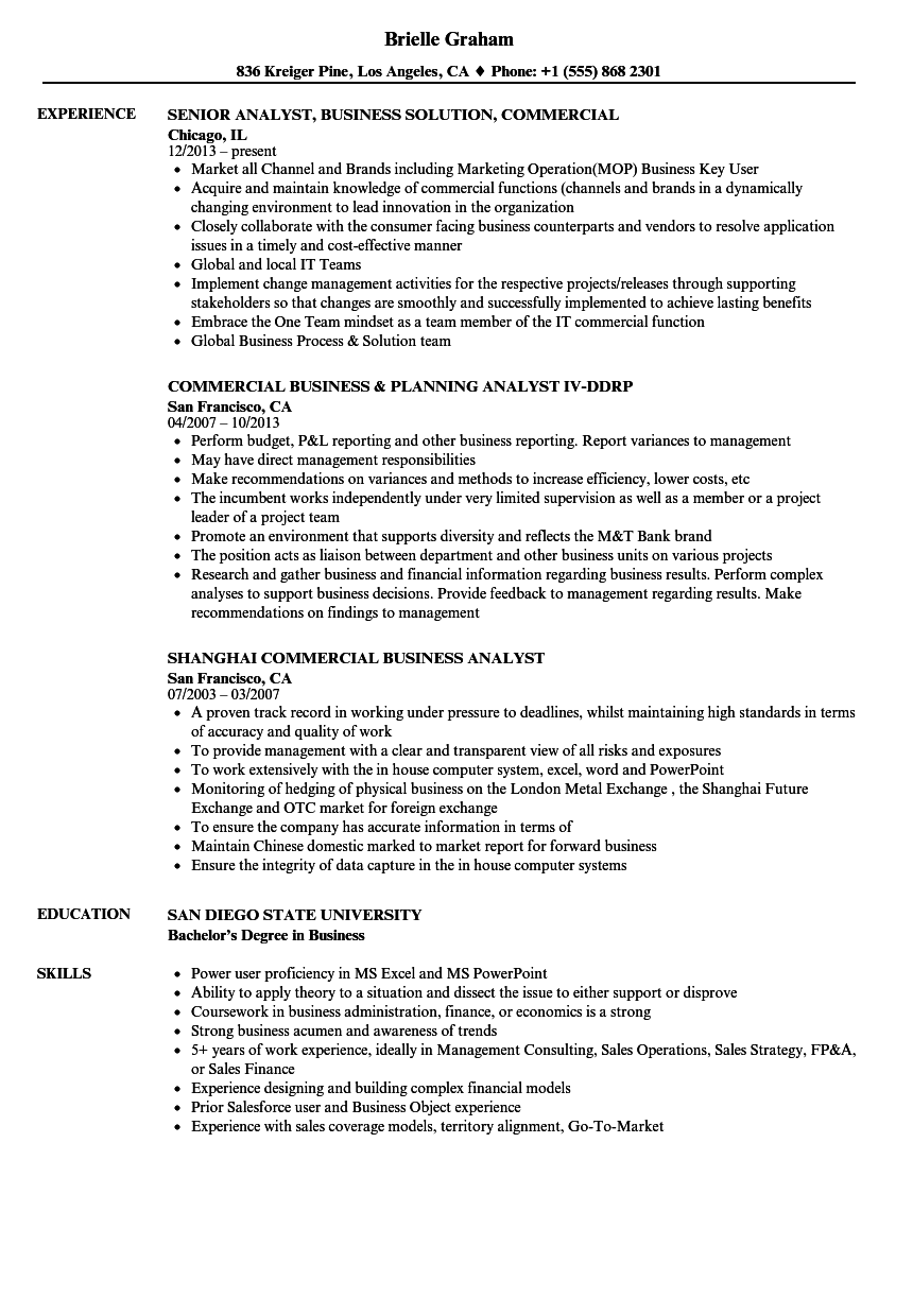 commercial    business analyst resume samples