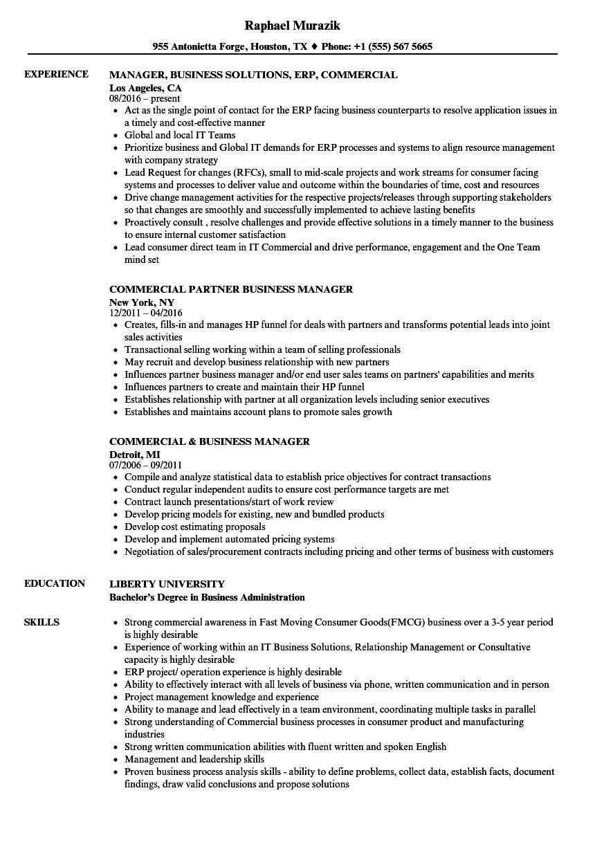 Commercial Business Manager Resume Samples Velvet Jobs