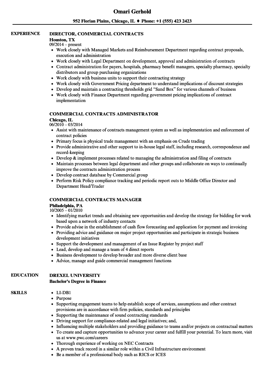 commercial contracts resume samples