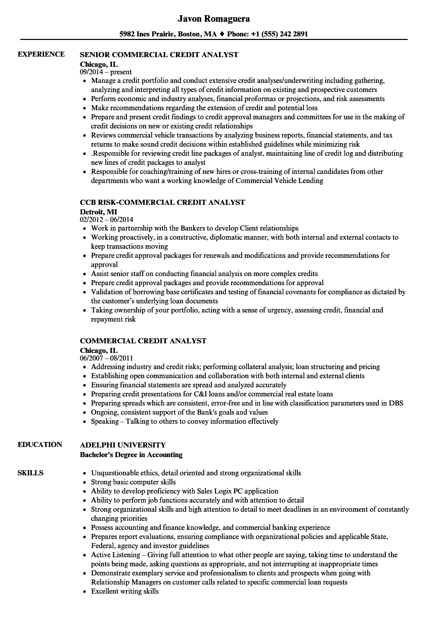 download commercial credit analyst resume sample as image file - Sample Credit Analyst Resume