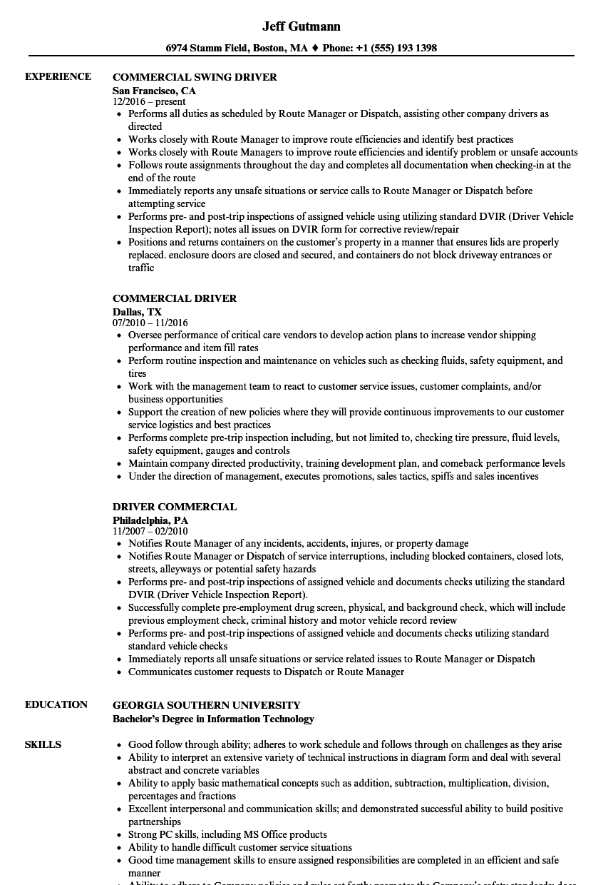 Commercial Driver Resume Samples Velvet Jobs