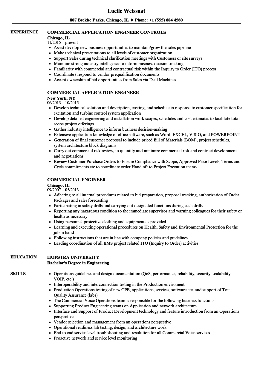 Commercial Engineer Resume Samples Velvet Jobs