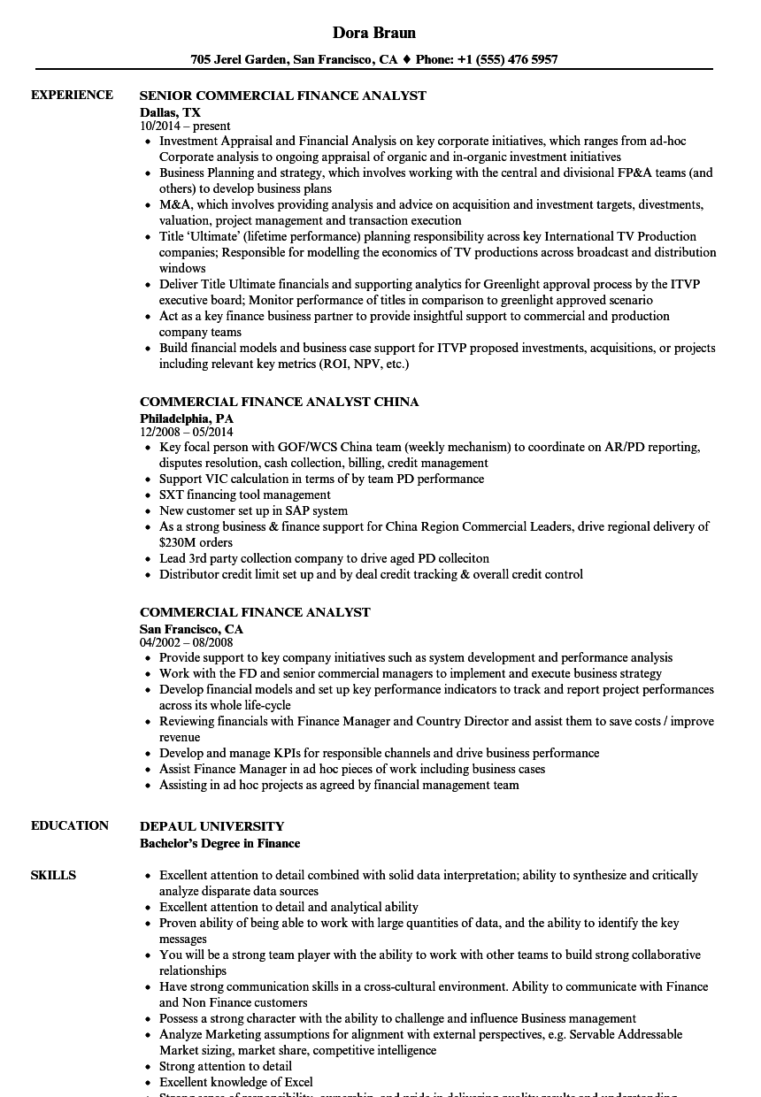 Commercial Finance Analyst Resume Samples | Velvet Jobs