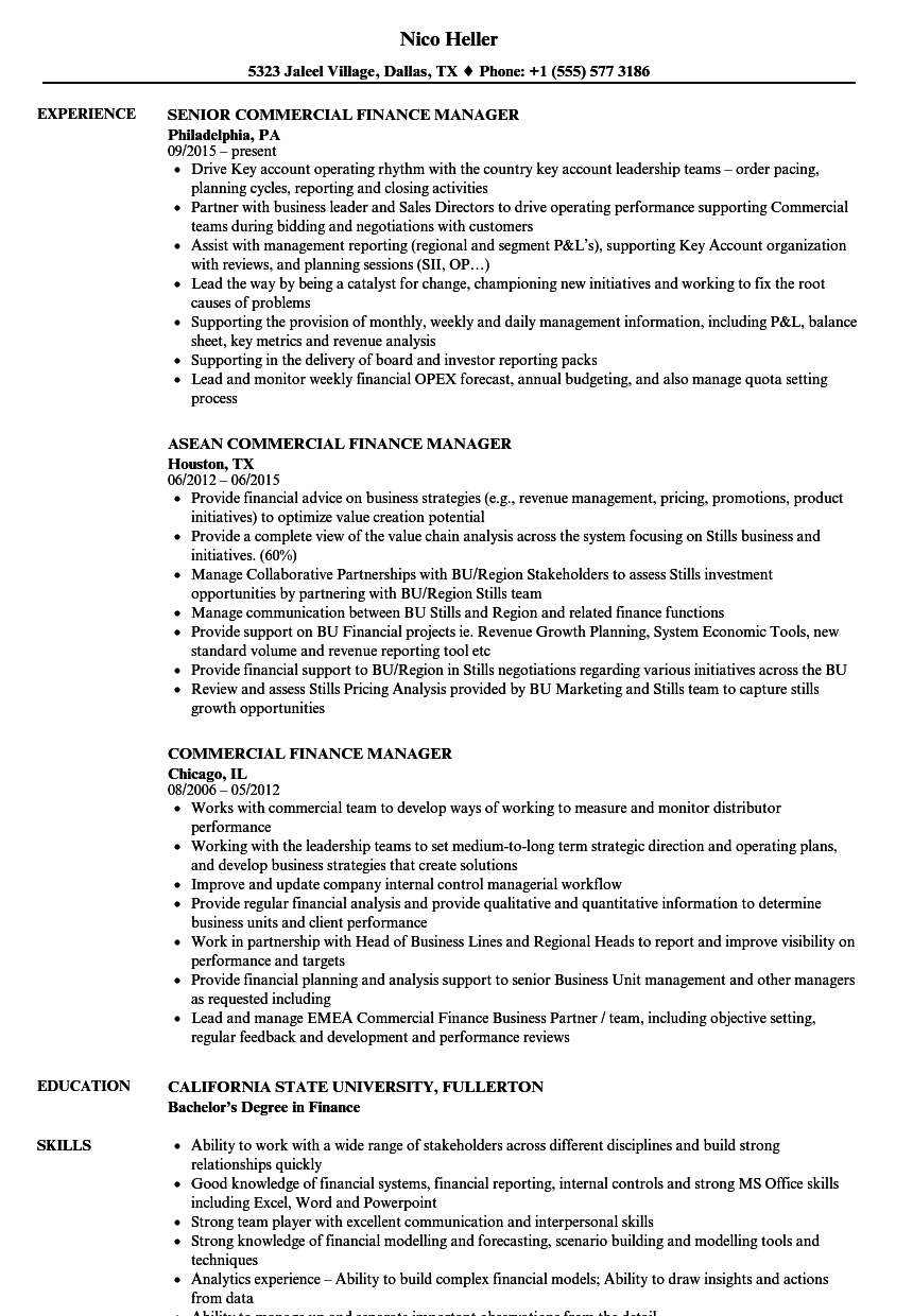 Commercial Finance Manager Resume Samples | Velvet Jobs