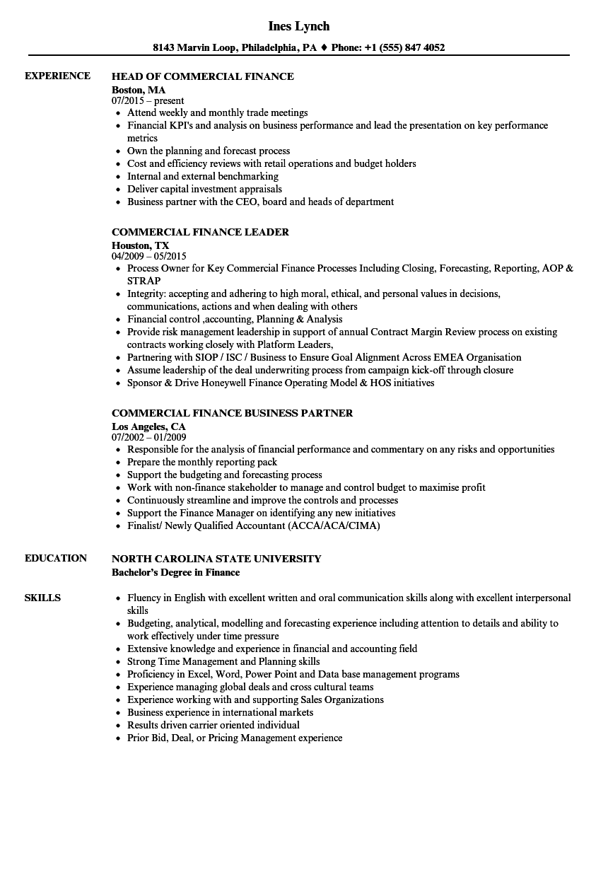 commercial finance resume samples