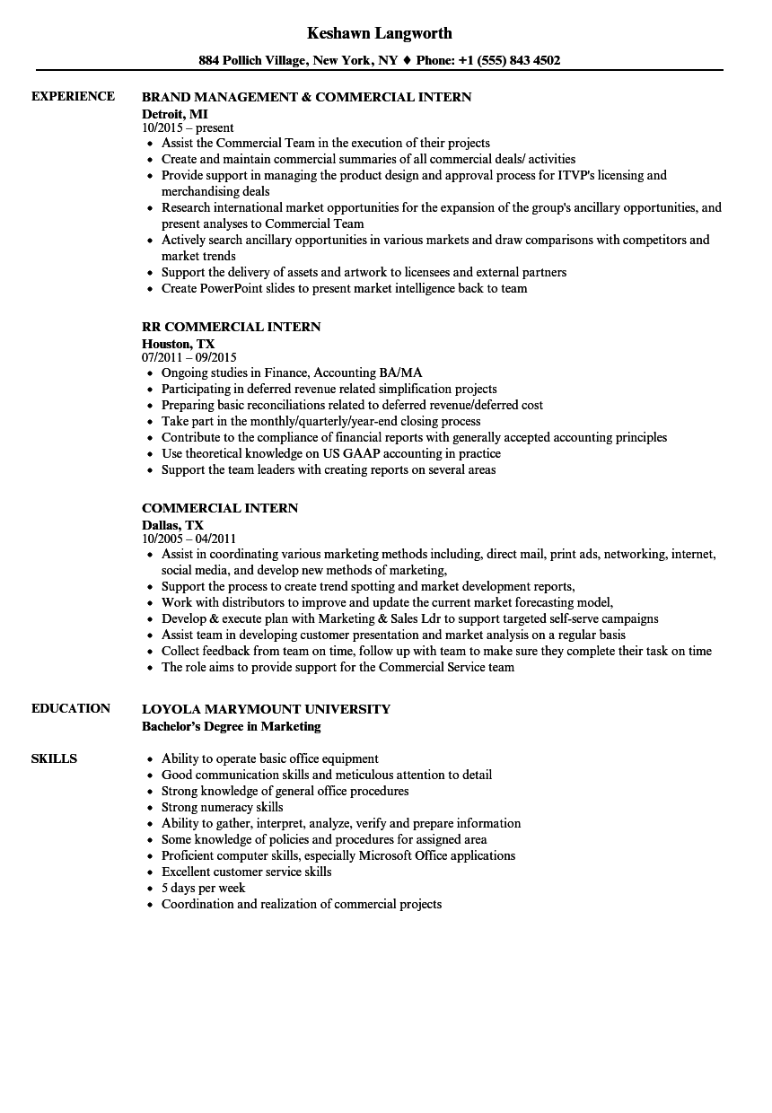 Commercial Intern Resume Sample As Image File