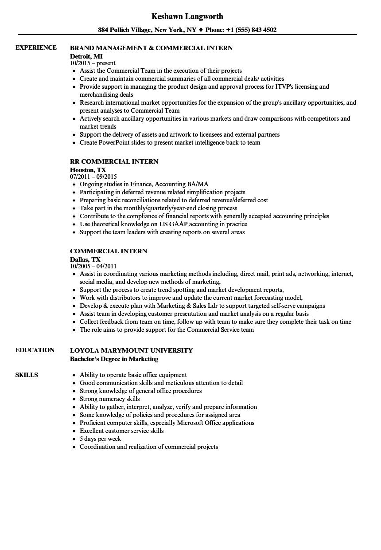 commercial intern resume samples