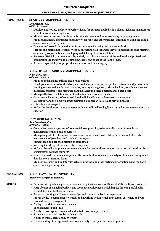 commercial lender resume samples