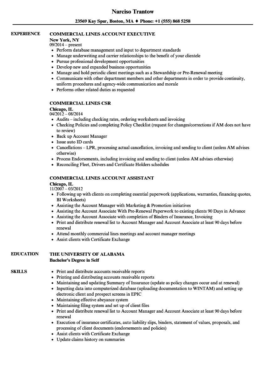 Commercial Lines Resume Samples | Velvet Jobs