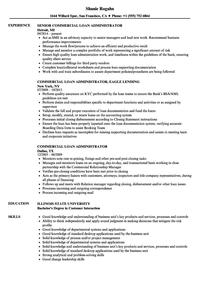 commercial loan administrator resume samples