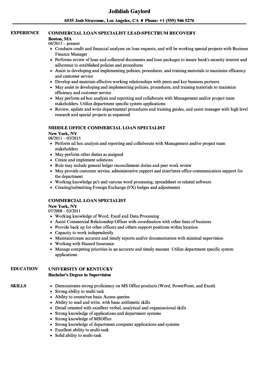 commercial loan specialist resume samples
