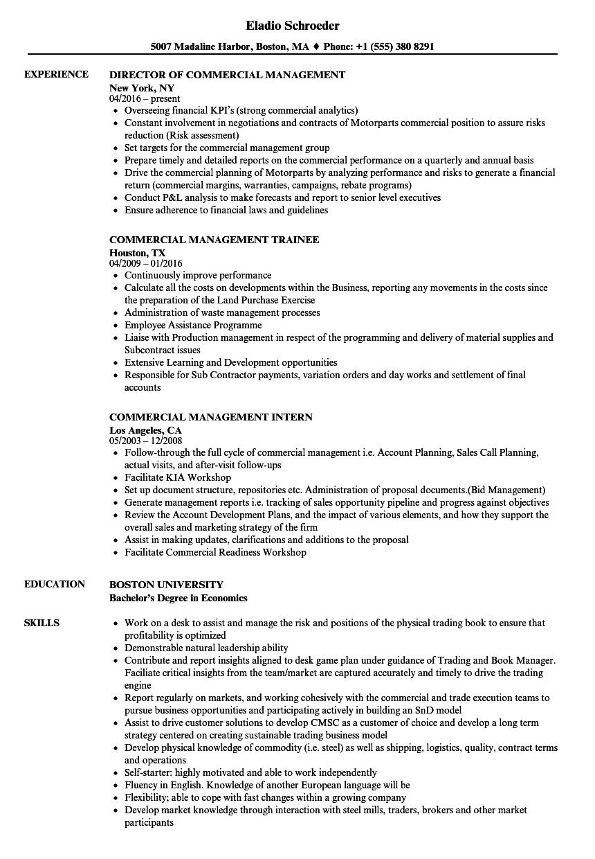 Commercial Management Resume Samples | Velvet Jobs