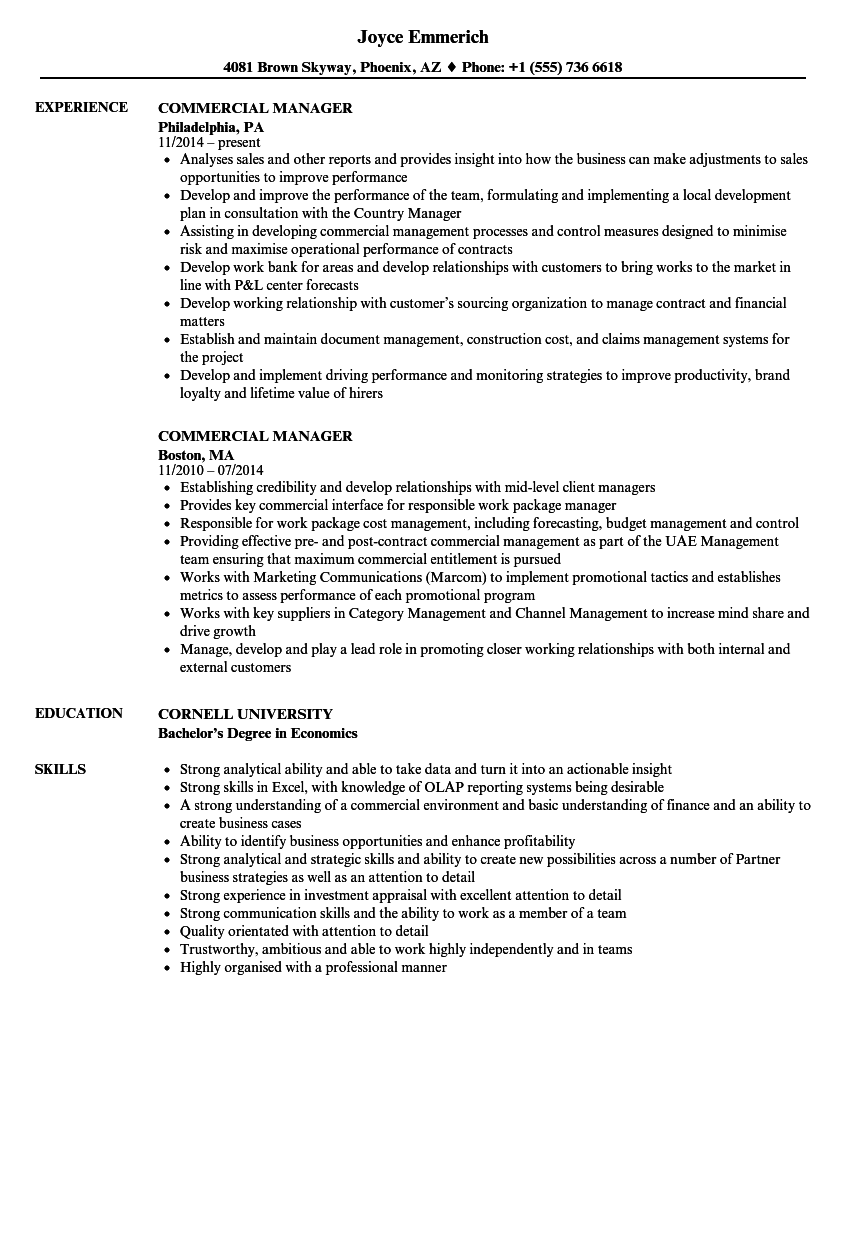 commercial-manager-resume-sample Target Resume Format on templates free, for doctors, sample functional, for tech students, mba freshers, job apply, ojt sample, what best,
