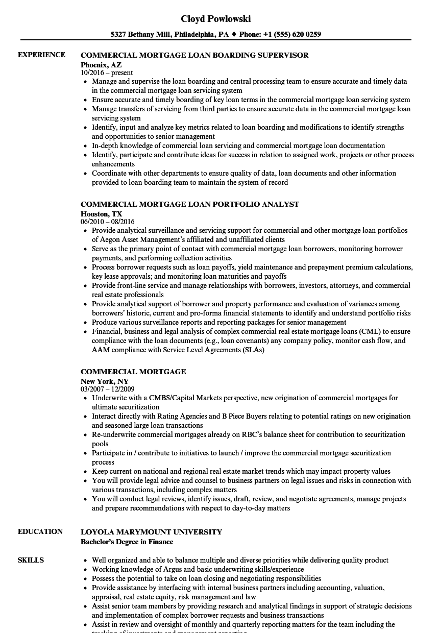 commercial mortgage resume samples