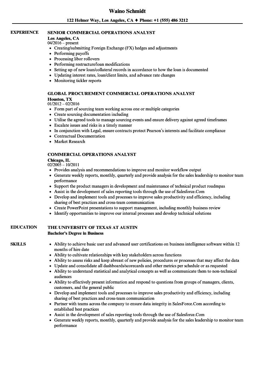 Commercial Operations Analyst Resume Samples | Velvet Jobs