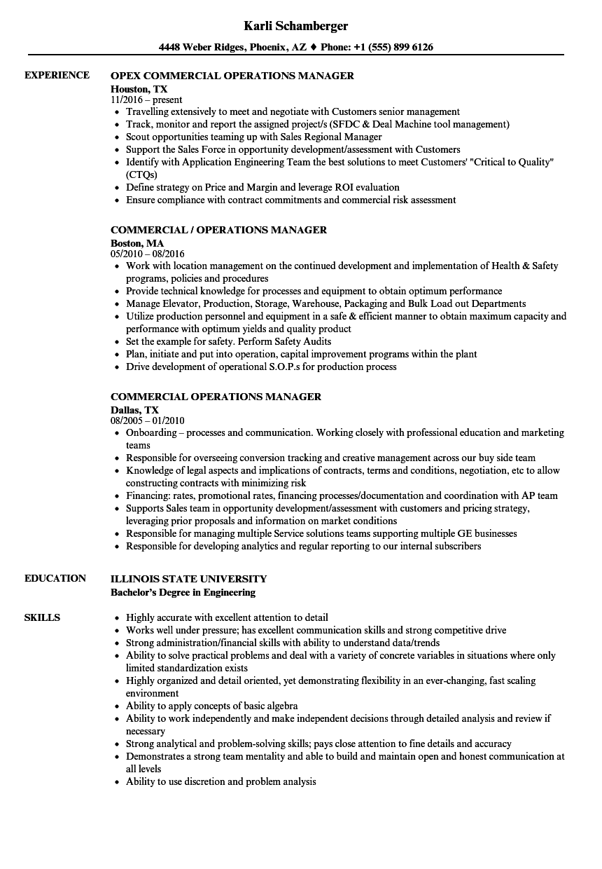 commercial operations manager resume samples