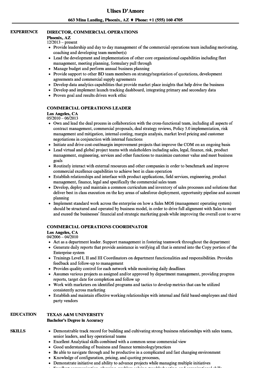 Commercial Operations Resume Samples | Velvet Jobs