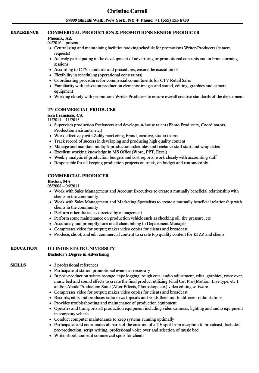 commercial producer resume samples