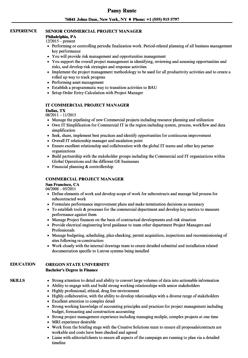 Commercial Project Manager Resume Samples Velvet Jobs