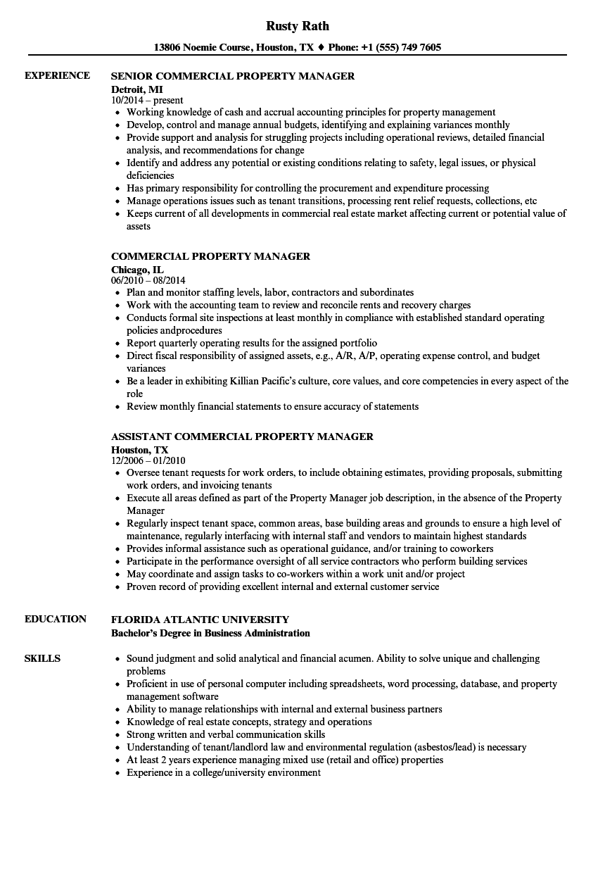 commercial property manager resume samples velvet jobs