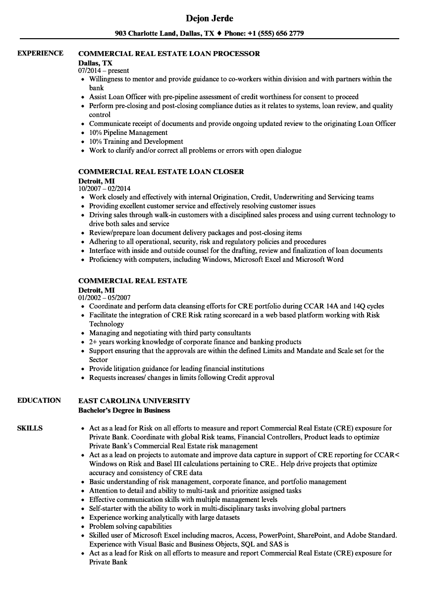 Commercial Real Estate Resume Samples Velvet Jobs
