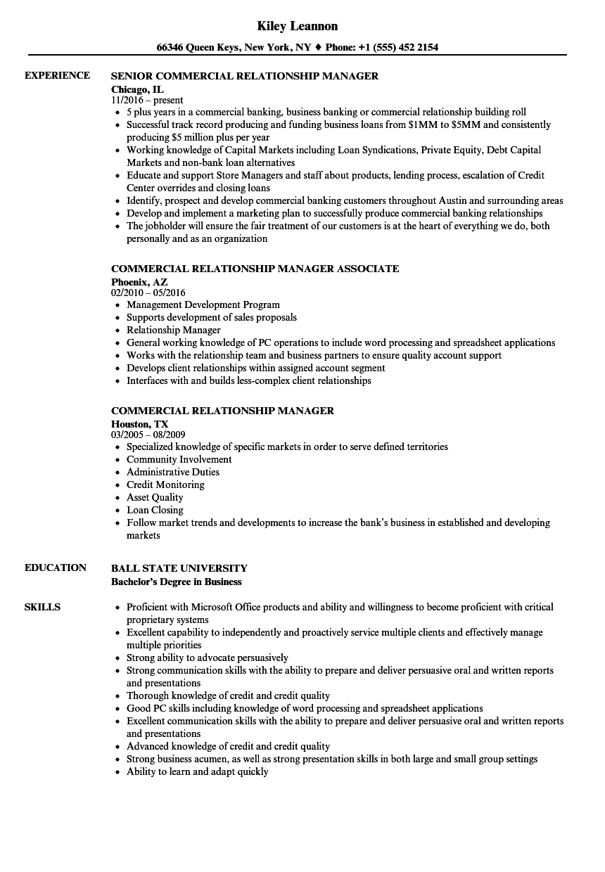 Commercial Relationship Manager Resume Samples | Velvet Jobs