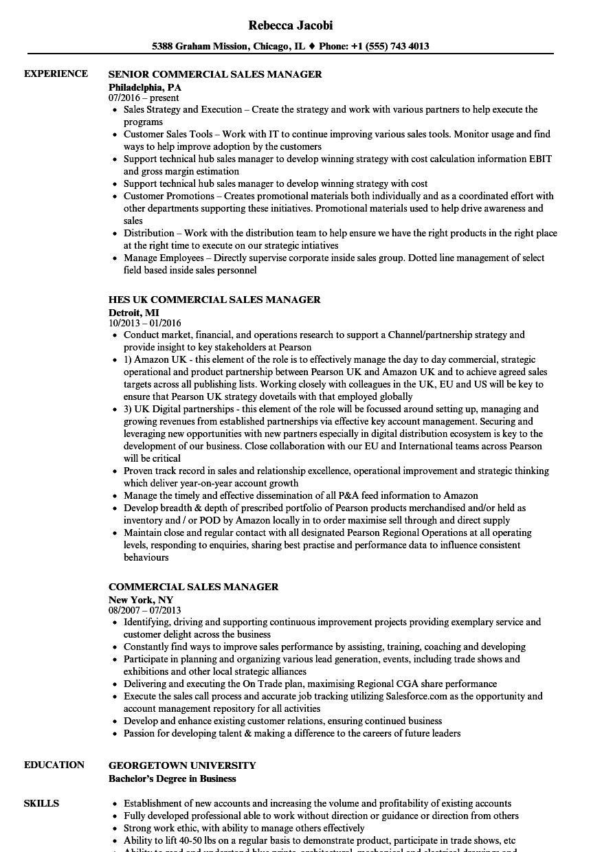 commercial sales manager resume samples