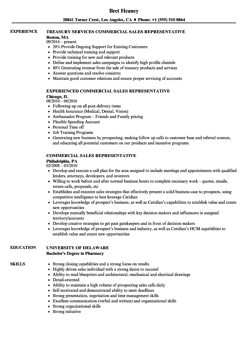 Commercial Sales Representative Resume Samples | Velvet Jobs