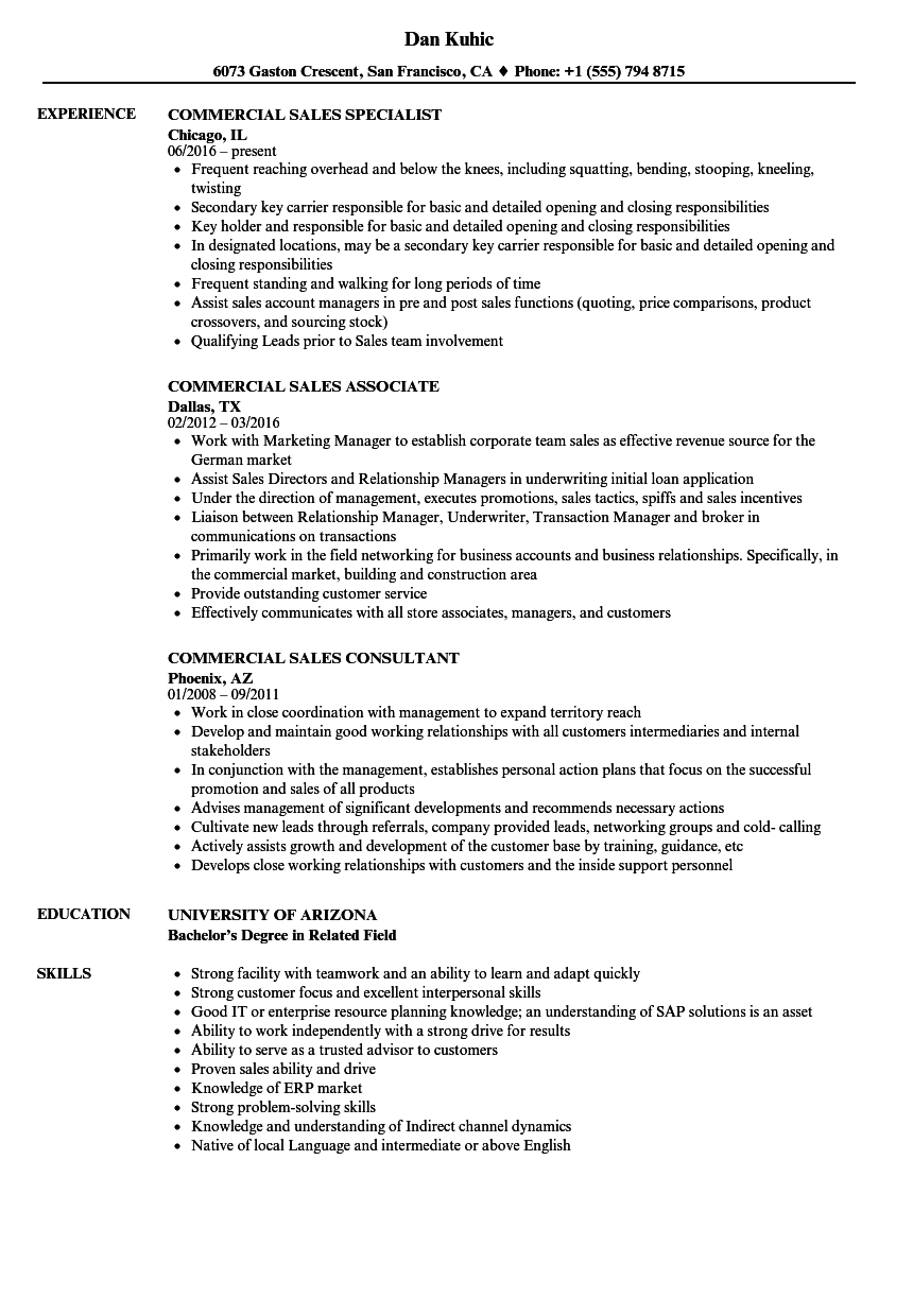 commercial sales resume samples