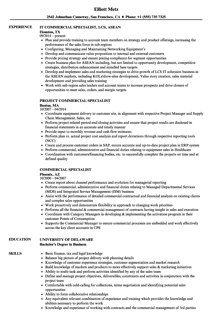 Download Commercial Specialist Resume Sample As Image File
