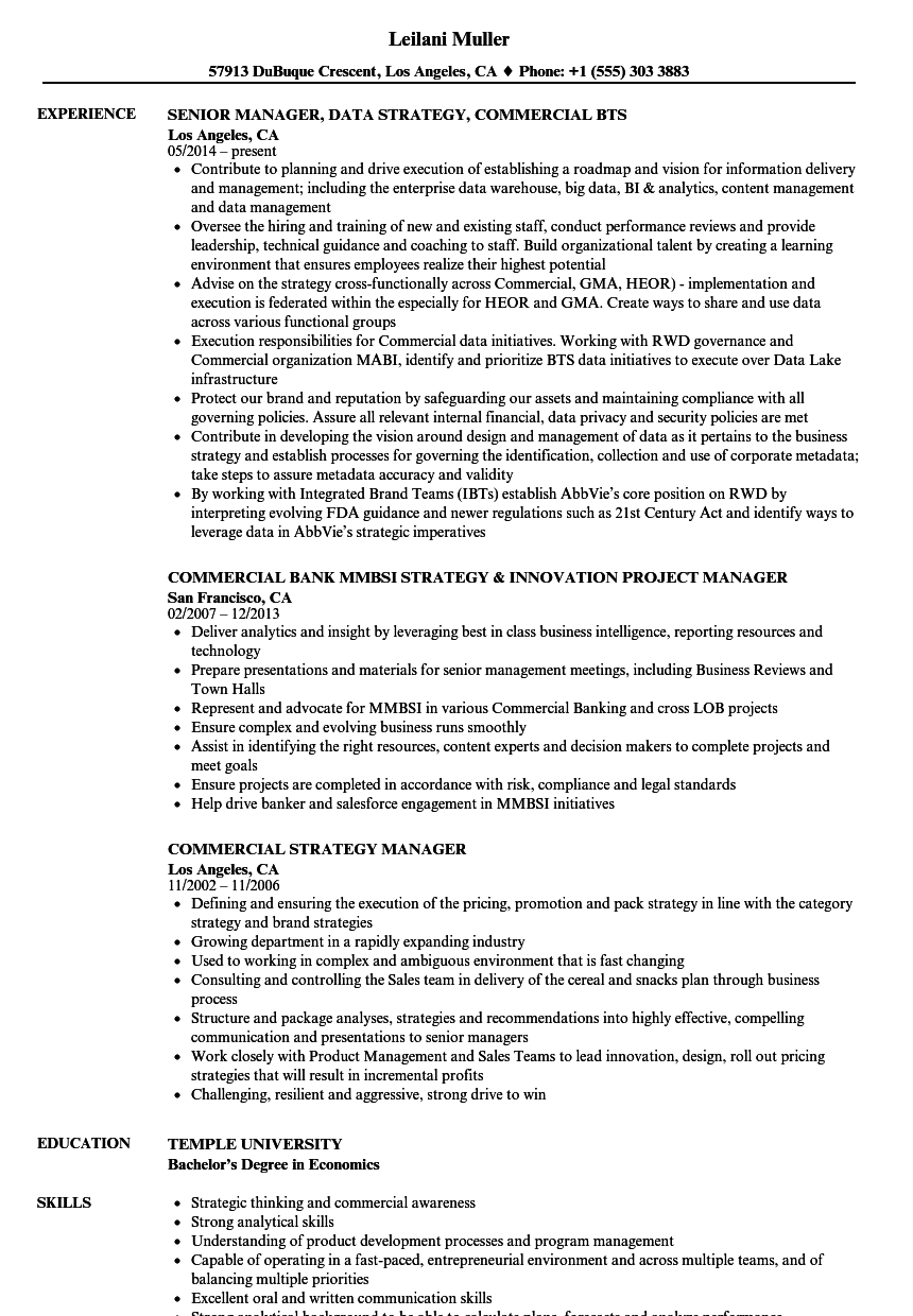 commercial manager resume sample pdf