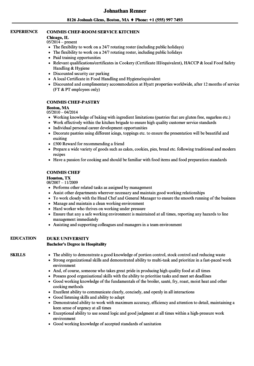 Commis Chef Resume Samples | Velvet Jobs