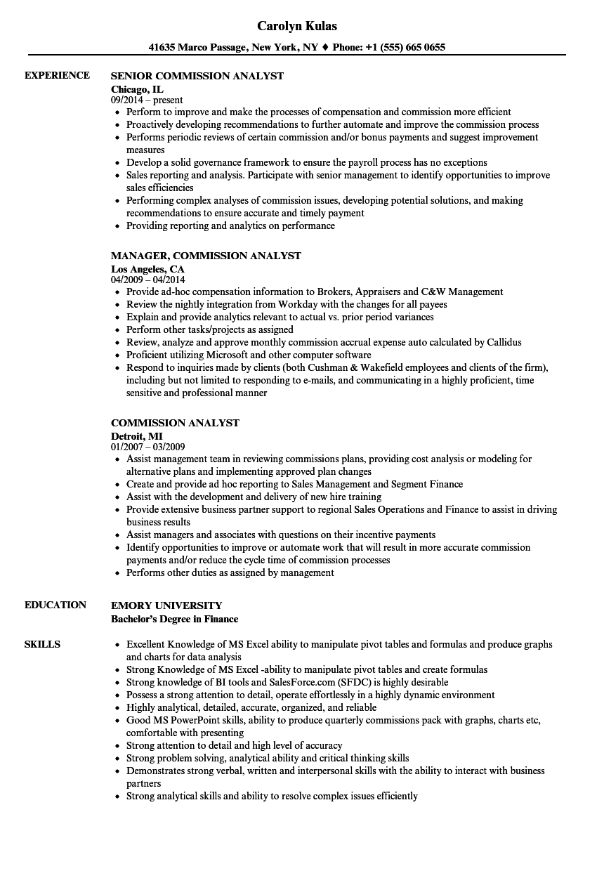 commission analyst resume samples