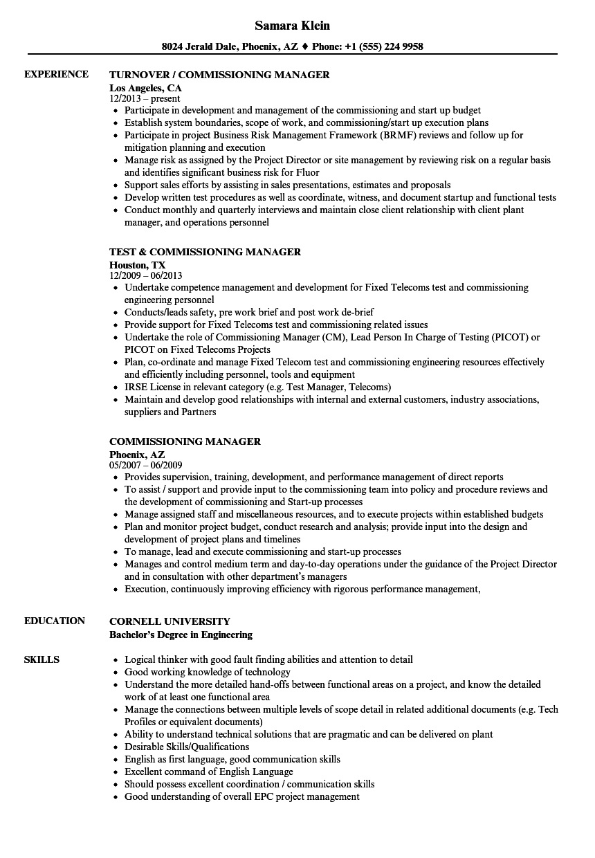 commissioning manager resume samples