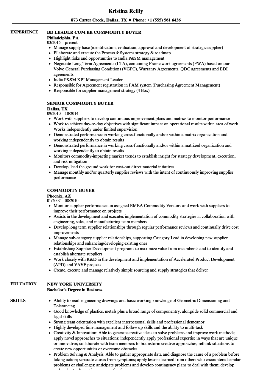 commodity buyer resume samples