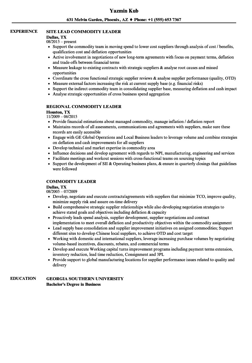 commodity leader resume samples