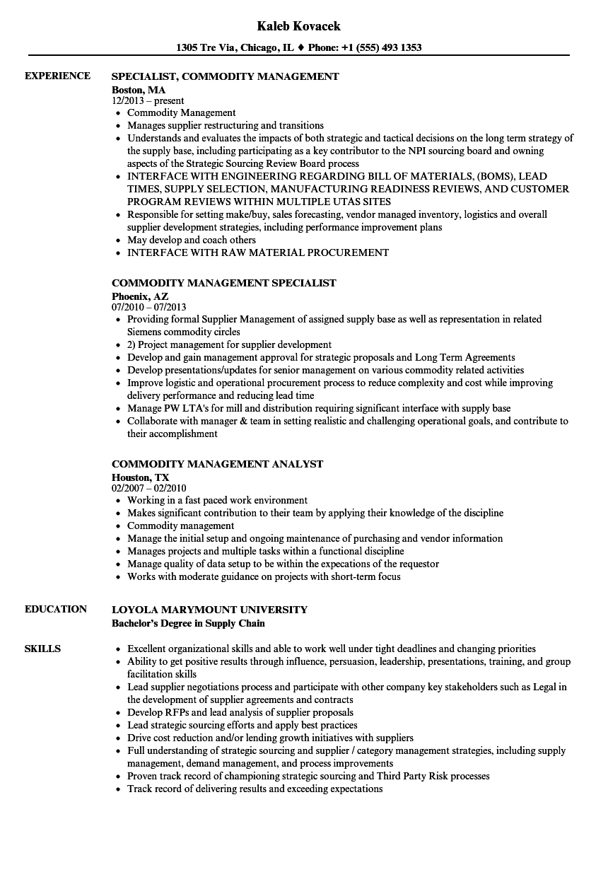 commodity management resume samples