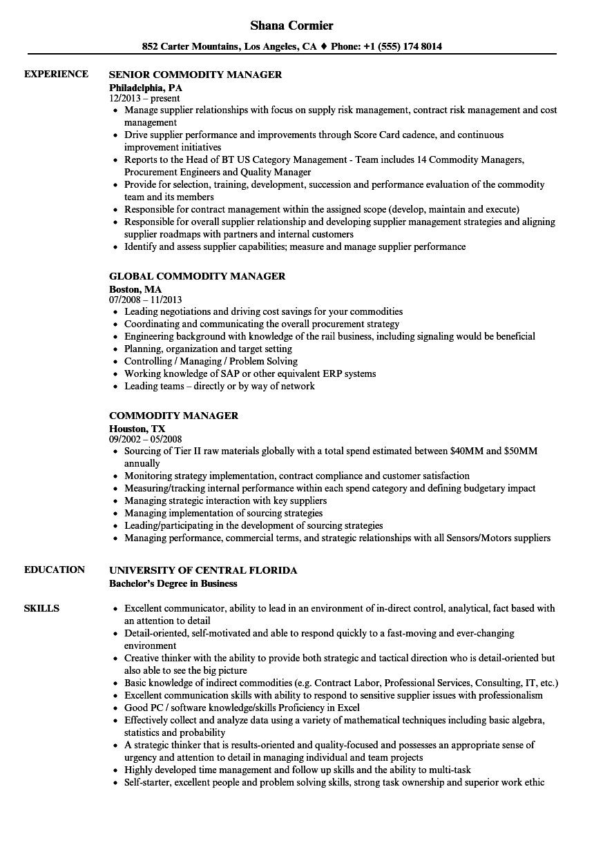 commodity manager resume samples