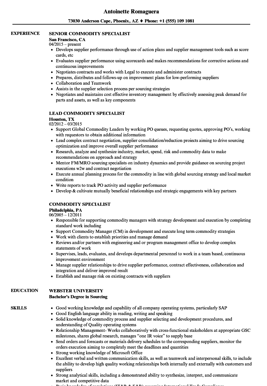 commodity specialist resume samples