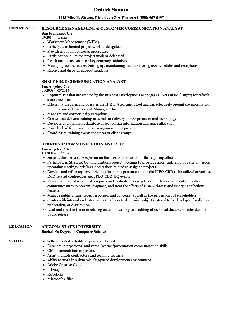 download communication analyst resume sample as image file - Workforce Management Analyst Sample Resume