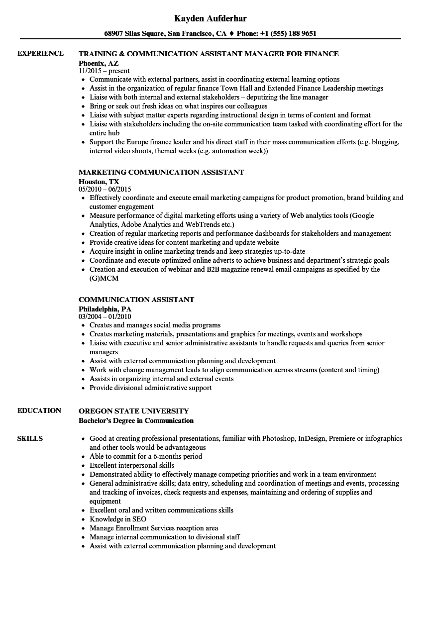 Communication Assistant Resume Samples Velvet Jobs