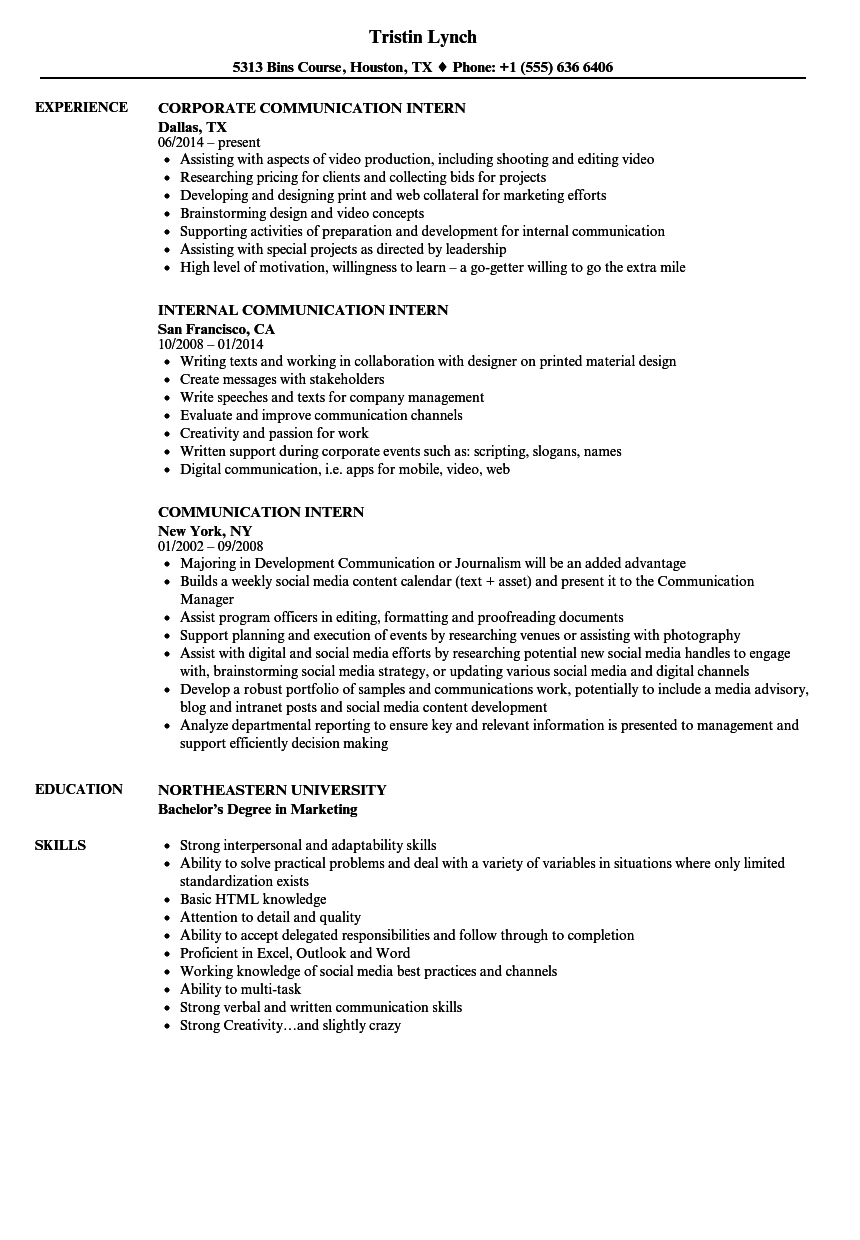 Communication Intern Resume Samples | Velvet Jobs