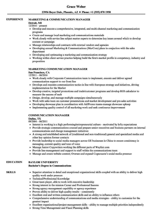 Communication Manager Resume Samples | Velvet Jobs