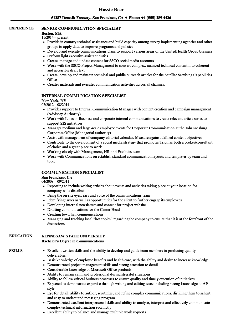 communication specialist resume samples