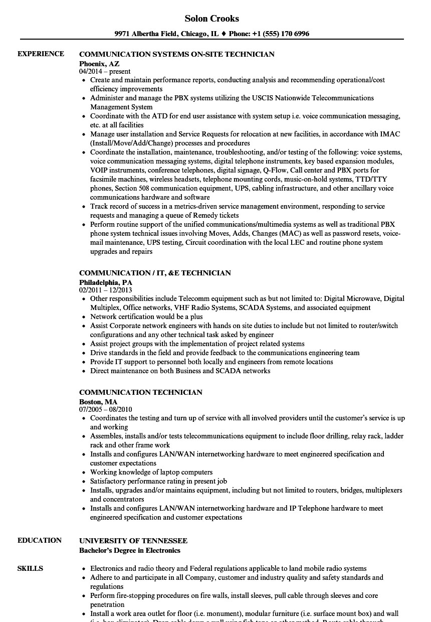 communication technician resume samples