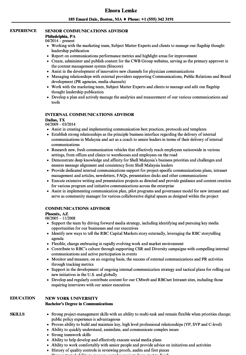 Communications Advisor Resume Samples | Velvet Jobs