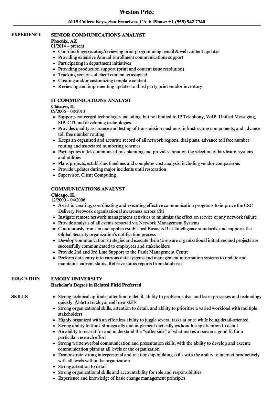 Communications Analyst Resume Samples Velvet Jobs